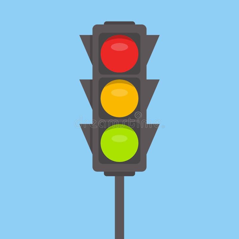 Icône d'isolement de feu de signalisation Les lumières vertes, jaunes, rouges dirigent l'illustration sur le fond de ciel bleu In illustration stock