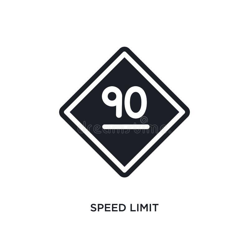 icône d'isolement de limitation de vitesse illustration simple d'élément des icônes de concept de signalisation symbole editable  illustration de vecteur
