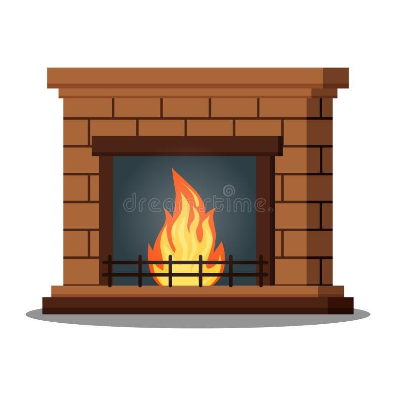 Icône d'isolement de plan rapproché fireburning de cheminée sur le fond blanc illustration de vecteur
