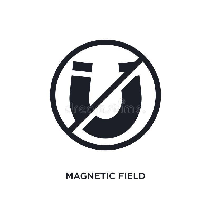 icône d'isolement noire de vecteur de champ magnétique illustration simple d'élément des icônes de vecteur de concept de signalis illustration stock