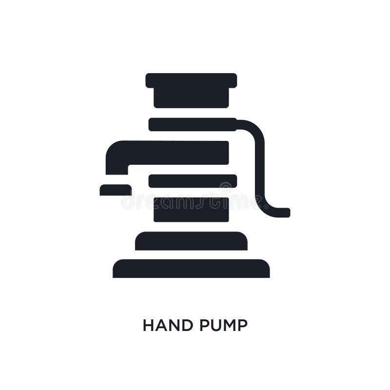 icône d'isolement noire de vecteur de pompe à main illustration simple d'élément des icônes de vecteur de concept d'industrie log illustration stock