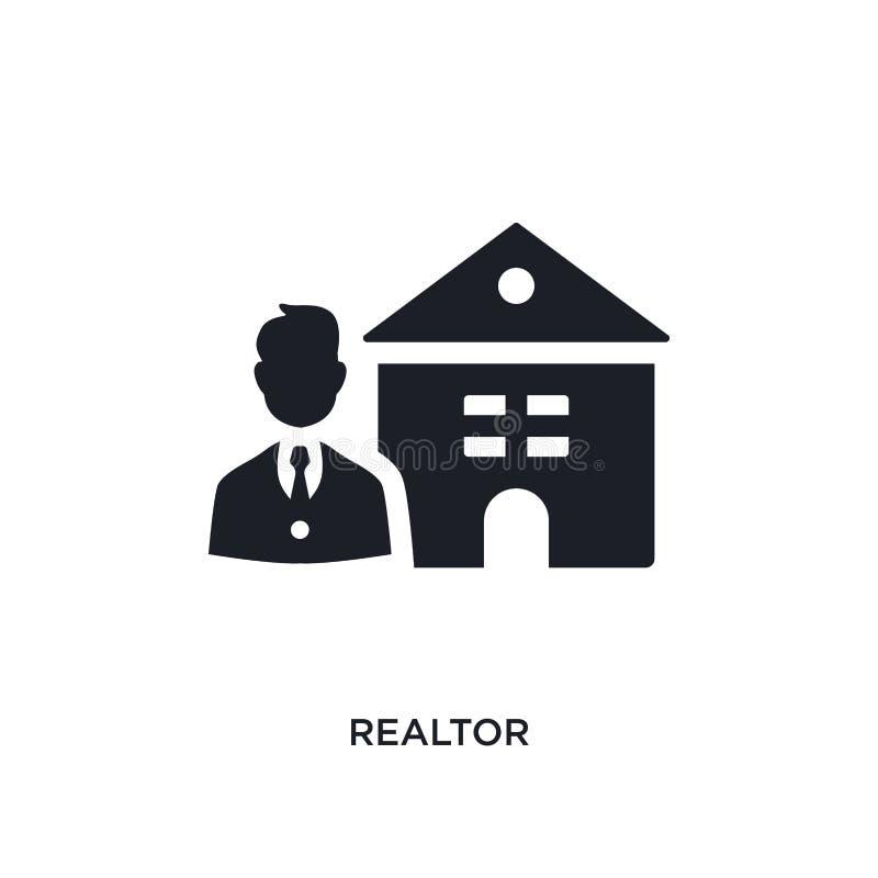 icône d'isolement par agent immobilier illustration simple d'élément des icônes de concept d'immobiliers conception editable de s illustration stock