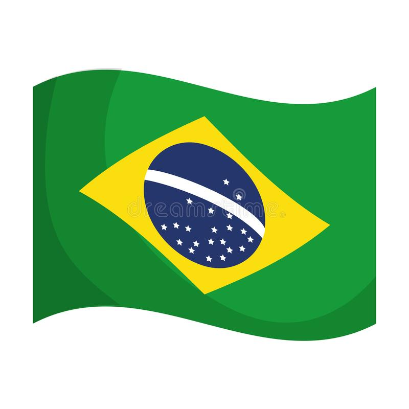 Icône d'isolement par drapeau brésilien illustration de vecteur