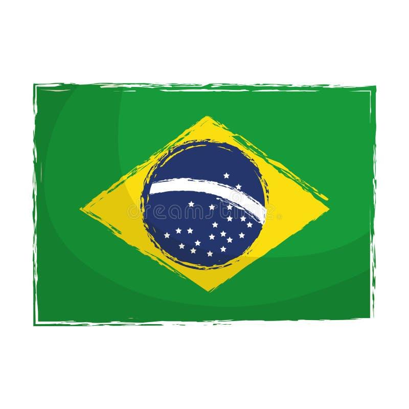 Icône d'isolement par drapeau brésilien illustration libre de droits