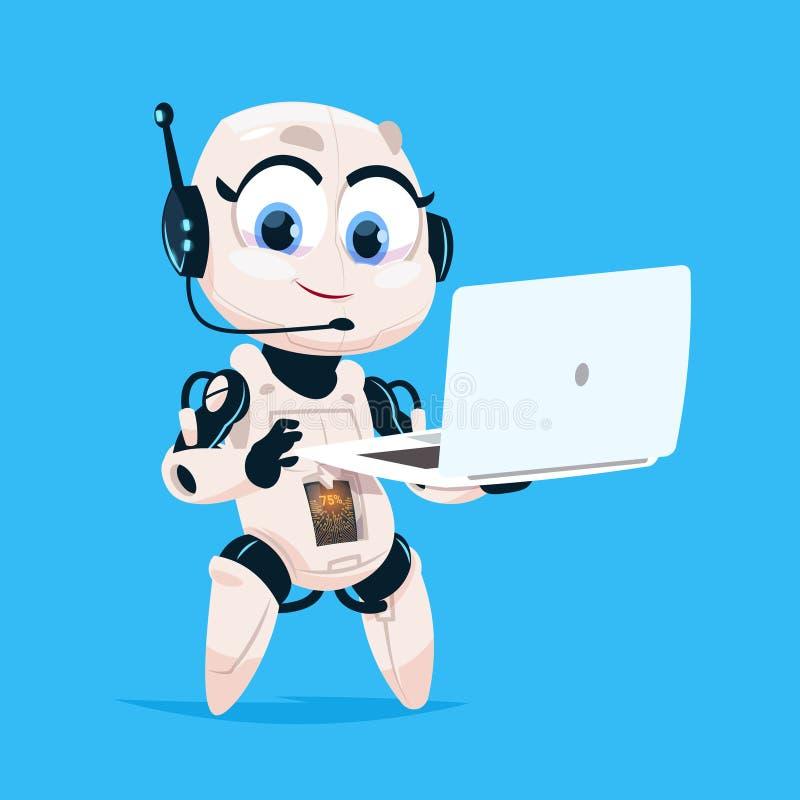 Icône d'isolement par fille robotique mignonne de Bot de causerie d'ordinateur portable de prise de robot sur la technologie mode illustration de vecteur