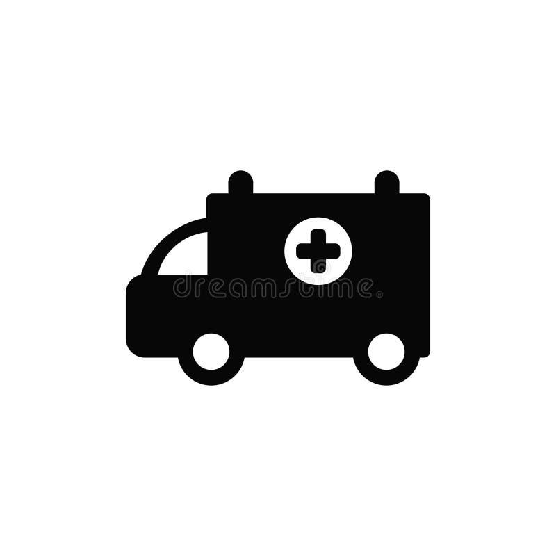 Icône d'isolement par noir de vecteur d'une ambulance illustration de vecteur