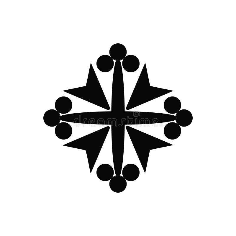 Icône d'isolement par noir de vecteur d'une croix chrétienne de beau chevalier médiéval photos libres de droits