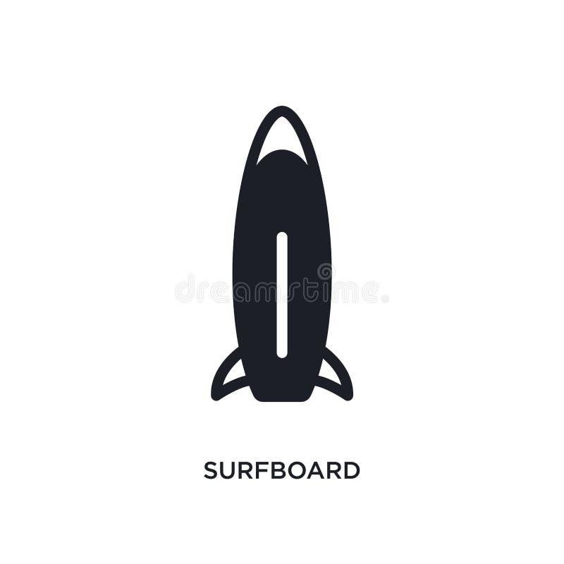icône d'isolement par planche de surf illustration simple d'élément des icônes nautiques de concept conception editable de symbol illustration stock