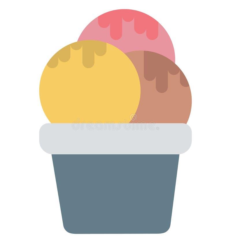 Icône d'isolement par vecteur de couleur de tasse de crème glacée Editable illustration libre de droits