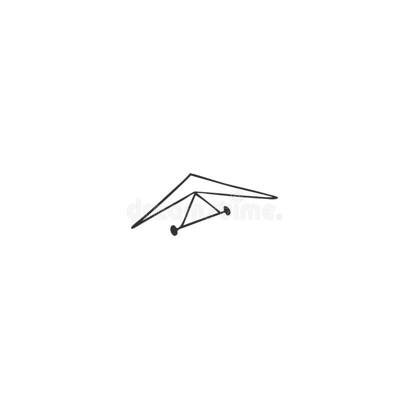Icône d'isolement par vecteur tiré par la main Accrochez le glissement, élément de logo de sports de ciel illustration stock