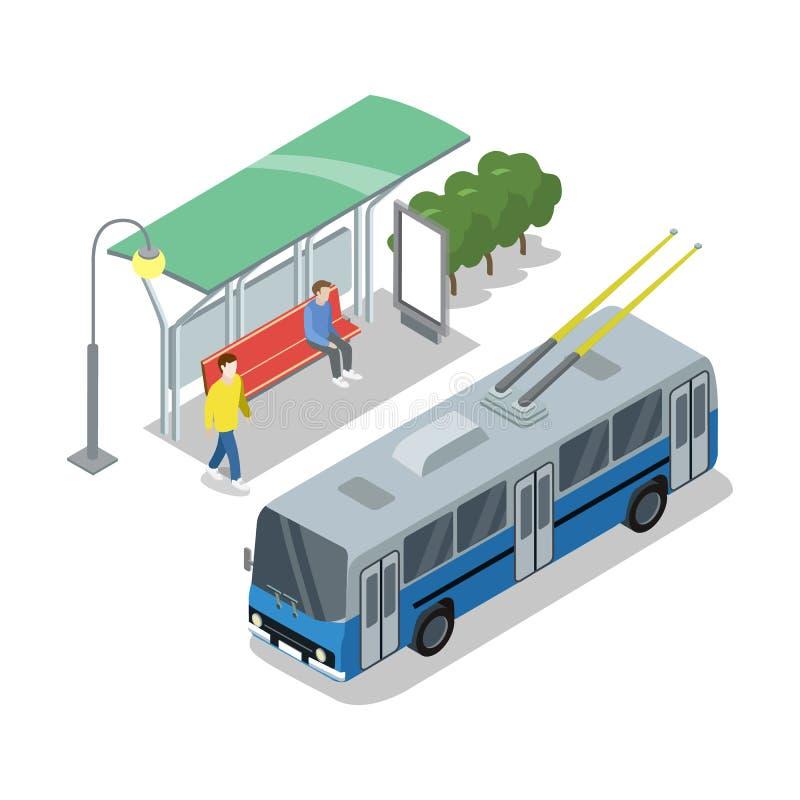 Icône 3D isométrique d'arrêt de trolleybus illustration de vecteur