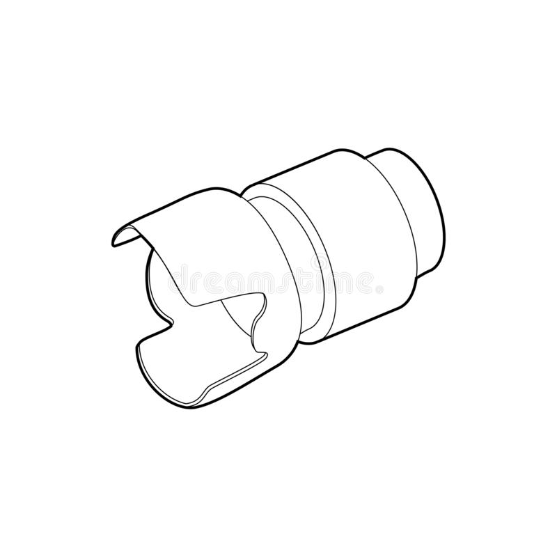 Icône d'objectif de caméra, style d'ensemble illustration de vecteur