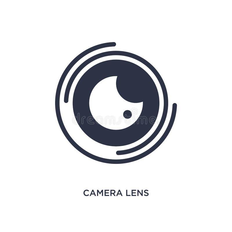 icône d'objectif de caméra sur le fond blanc Illustration simple d'élément de concept de cinéma illustration libre de droits