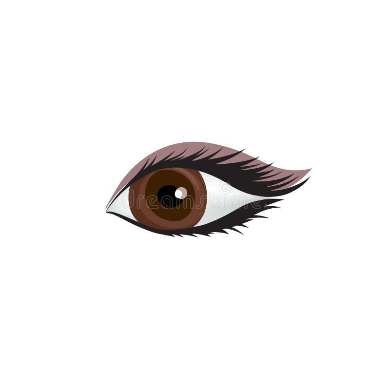 Icône d'oeil du ` s de femme Oeil sexy avec le sourcil parfaitement formé illustration de vecteur