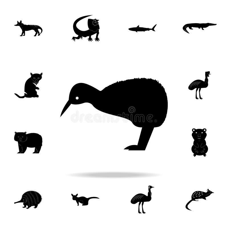 Icône d'oiseau de kiwi Ensemble détaillé d'icônes animales australiennes de silhouette Conception graphique de la meilleure quali illustration stock