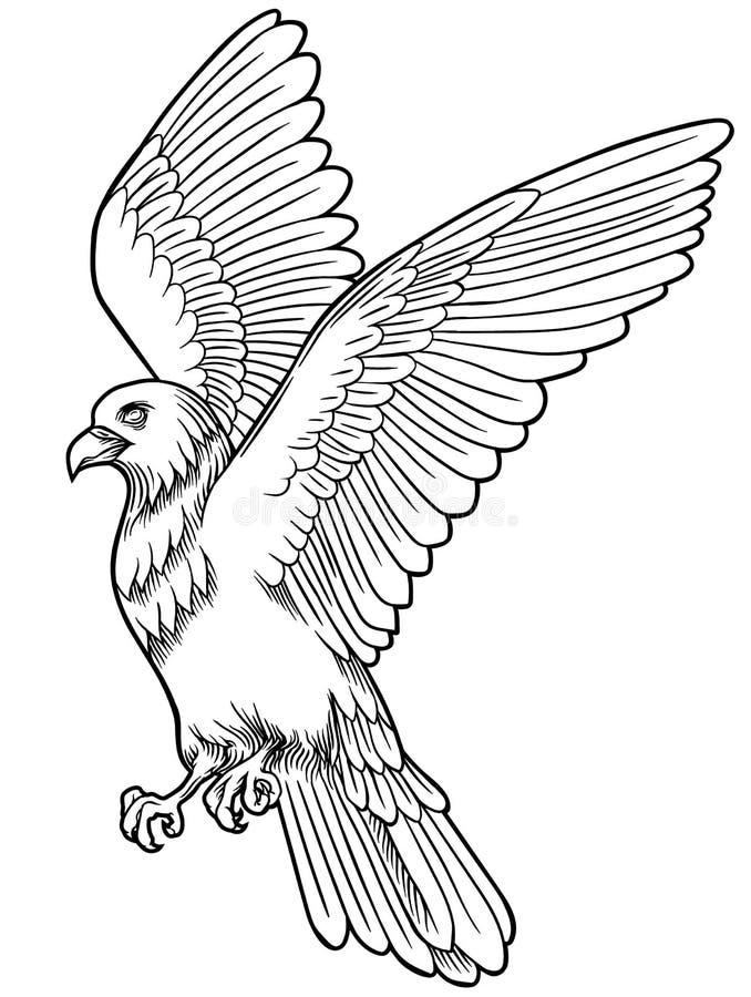 Icône d'oiseau d'Eagle Dirigez l'emblème héraldique du faucon sauvage puissant avec étirer des embrayages illustration de vecteur