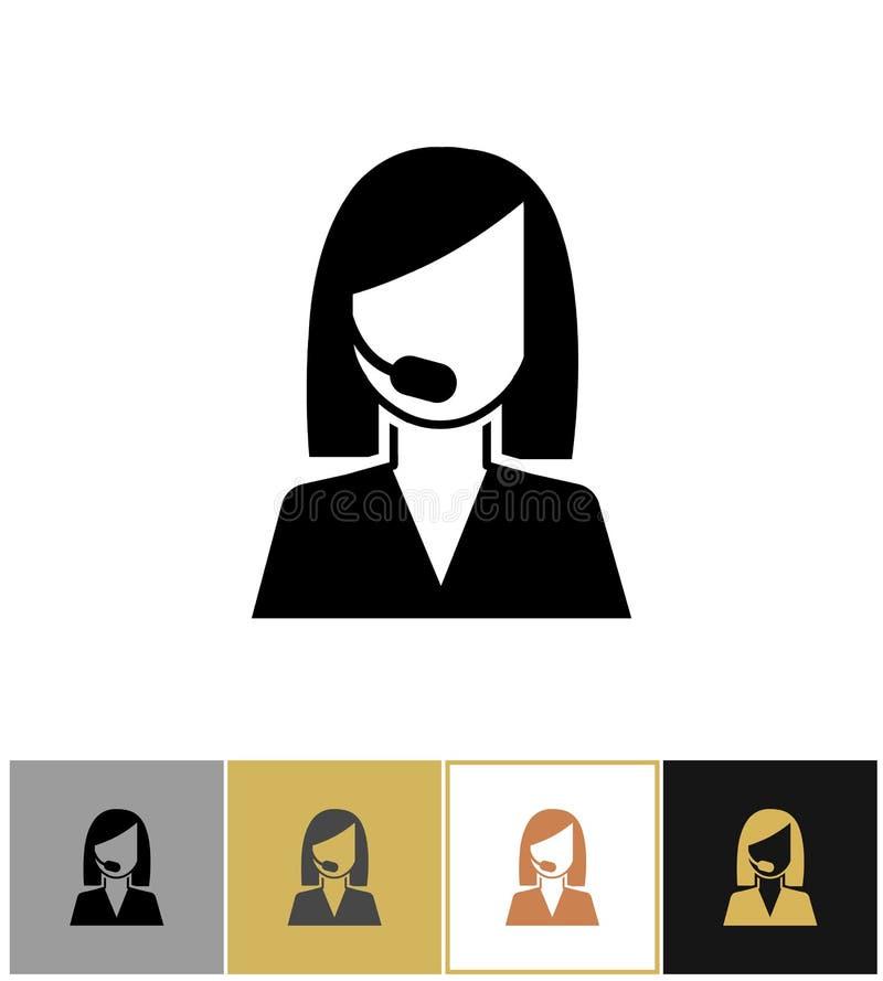 Icône d'opérateur Pictogramme auxiliaire de secrétaire, d'agent de vente ou de téléphone de centre d'appels sur l'or et le fond b illustration libre de droits