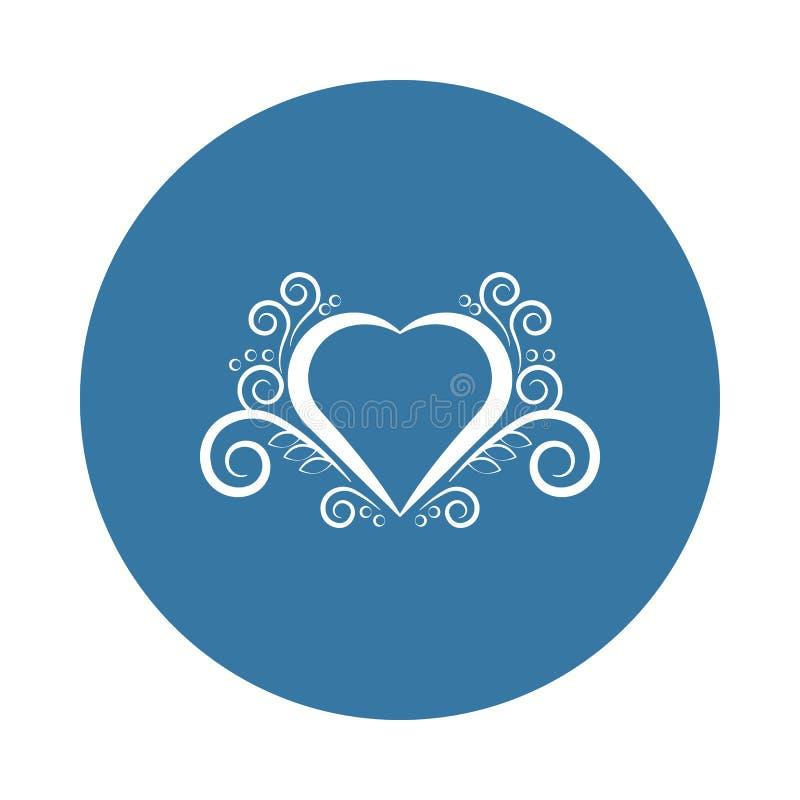 Icône d'ornement de coeur Élément des icônes d'ornements pour les apps mobiles de concept et de Web L'icône d'ornement de coeur d illustration stock