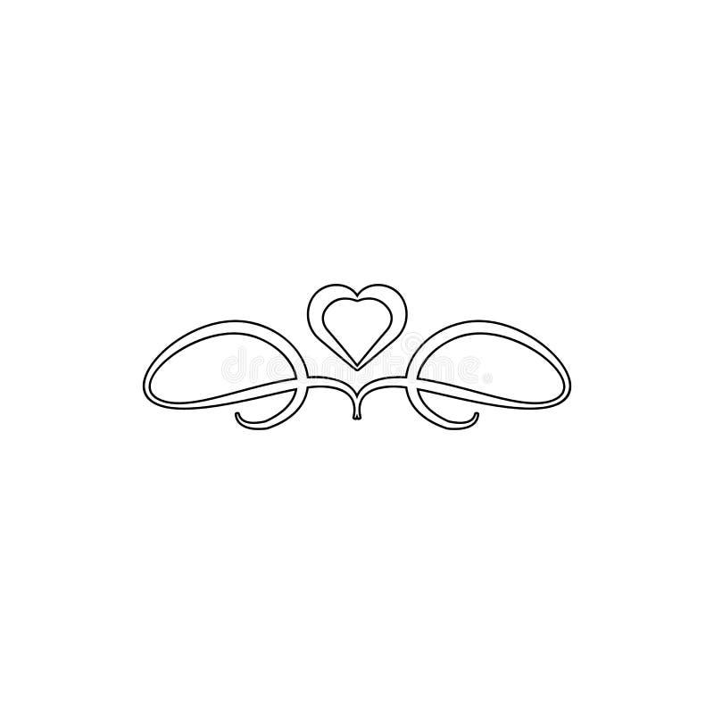Icône d'ornement de coeur Élément des ornements pour le concept et l'icône mobiles d'applis de Web Ligne mince icône pour la conc illustration libre de droits