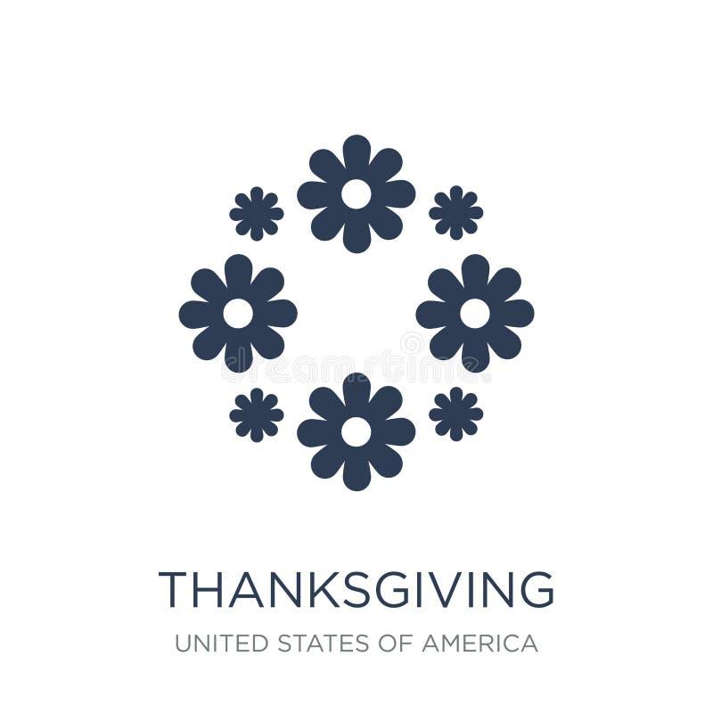 Icône d'ornement de thanksgiving Orna plat à la mode de thanksgiving de vecteur illustration stock