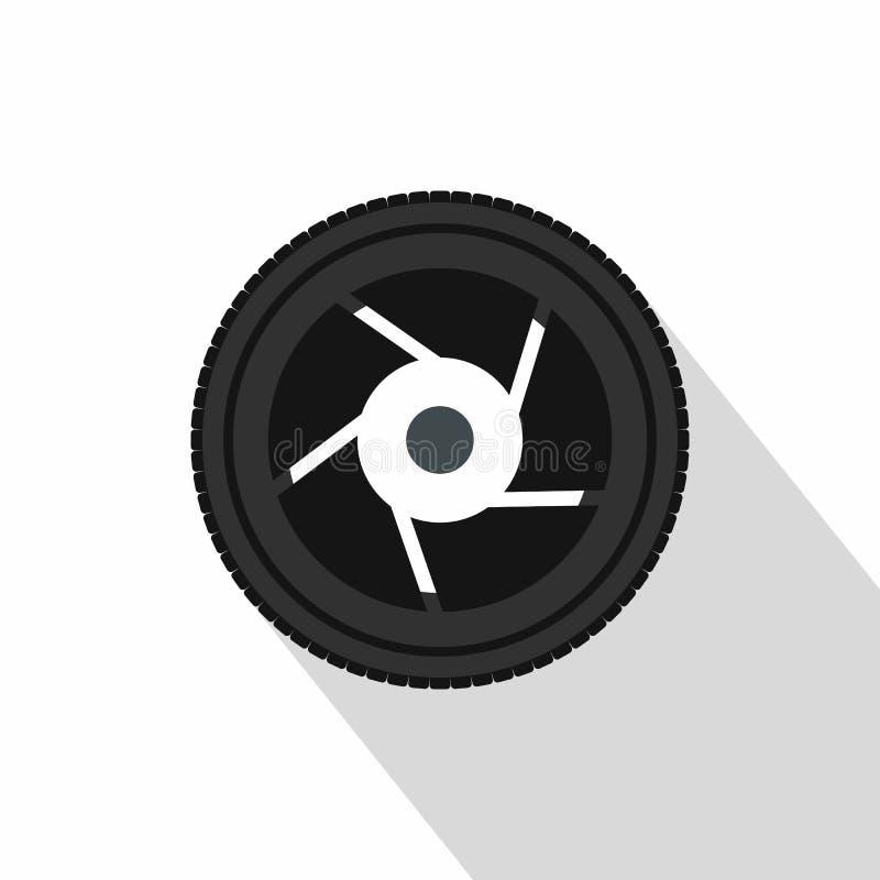 Icône d'ouverture d'appareil-photo, style plat illustration de vecteur