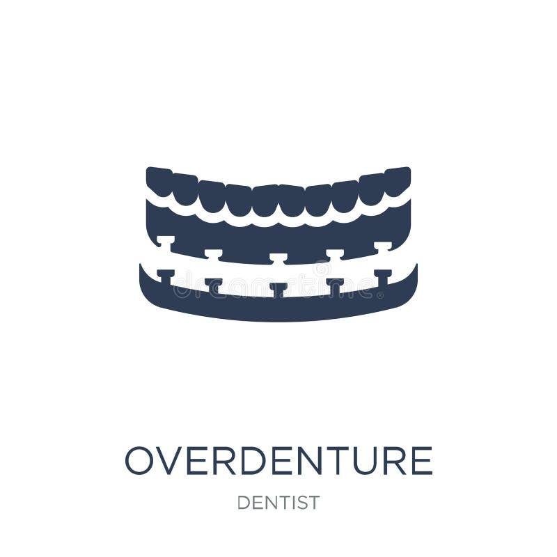 Icône d'Overdenture Icône plate à la mode d'Overdenture de vecteur sur b blanc illustration stock