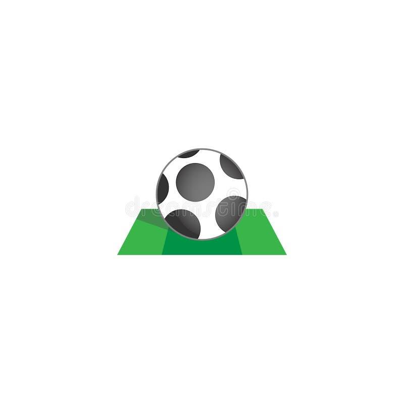 Icône d'un ballon de football sur un champ vert illustration de vecteur
