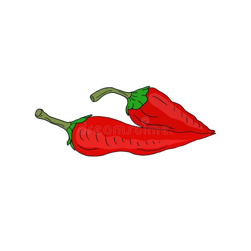 Icône d'un rouge ardent de vecteur de poivre de piments Autocollant végétal Ingrédients pour le livre de recette illustration libre de droits