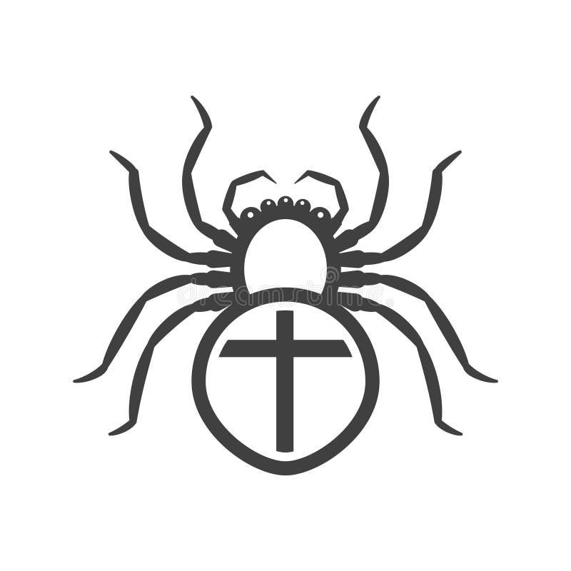 Icône d'une araignée blanche avec une croix sur l'abdomen Vecteur sur un fond blanc illustration stock