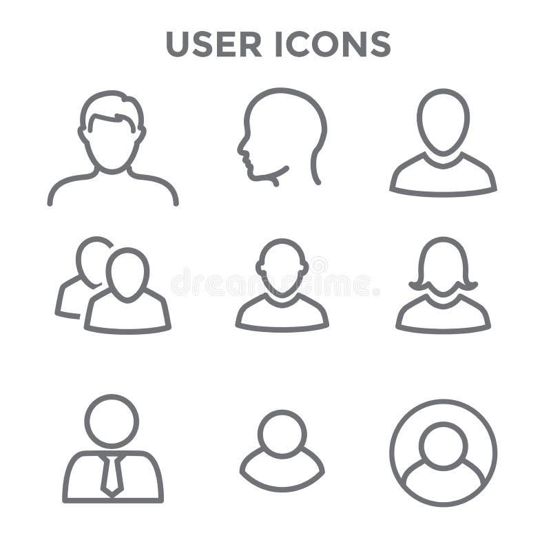 Icône d'utilisateur réglée avec l'homme, la femme, et les personnes multiples illustration libre de droits