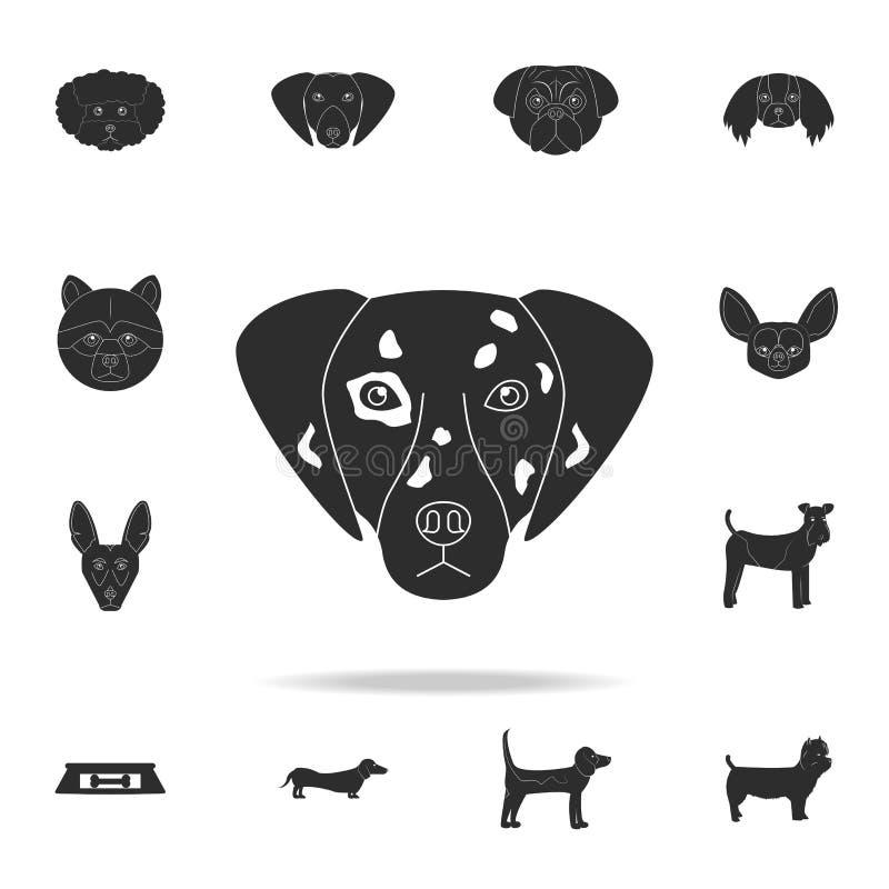 Icône dalmatienne de visage Ensemble détaillé d'icônes de silhouette de chien Conception graphique de la meilleure qualité Une de illustration de vecteur