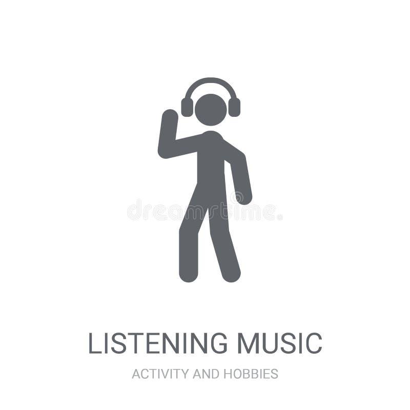Icône de écoute de musique Concept de écoute à la mode de logo de musique sur le whi illustration libre de droits