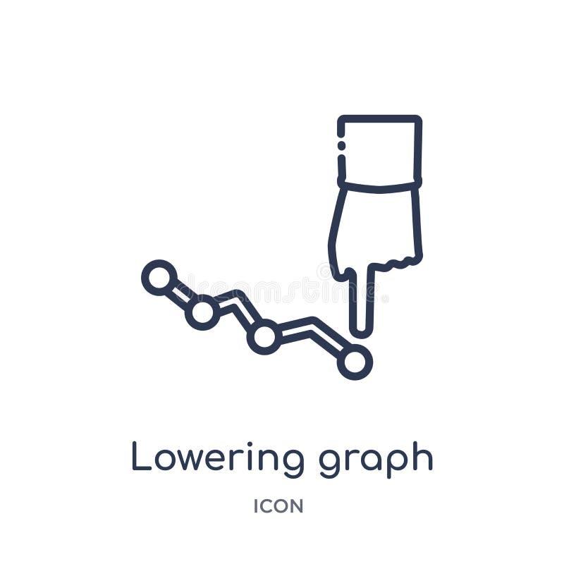 Icône de abaissement linéaire de graphique de la collection de commercialisation d'ensemble La ligne mince abaissement représente illustration stock