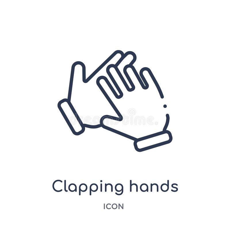 Icône de applaudissement linéaire de mains des mains et de la collection d'ensemble de guestures Ligne mince icône de applaudisse illustration de vecteur