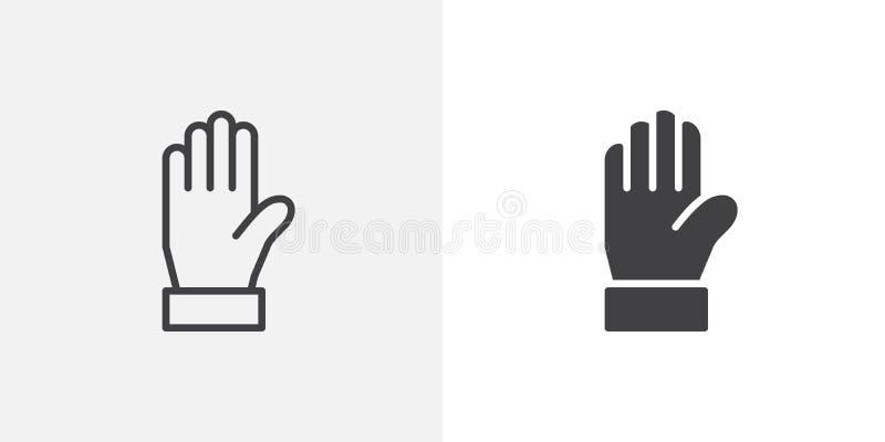 Icône de avertissement de main illustration stock