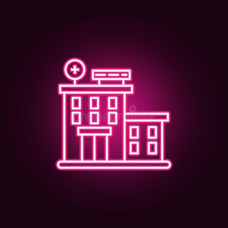 Icône de bâtiment d'hôpital Éléments de jour de Cancer dans les icônes au néon de style E illustration de vecteur