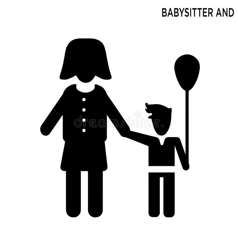 Icône de babysitter et d'enfant illustration libre de droits