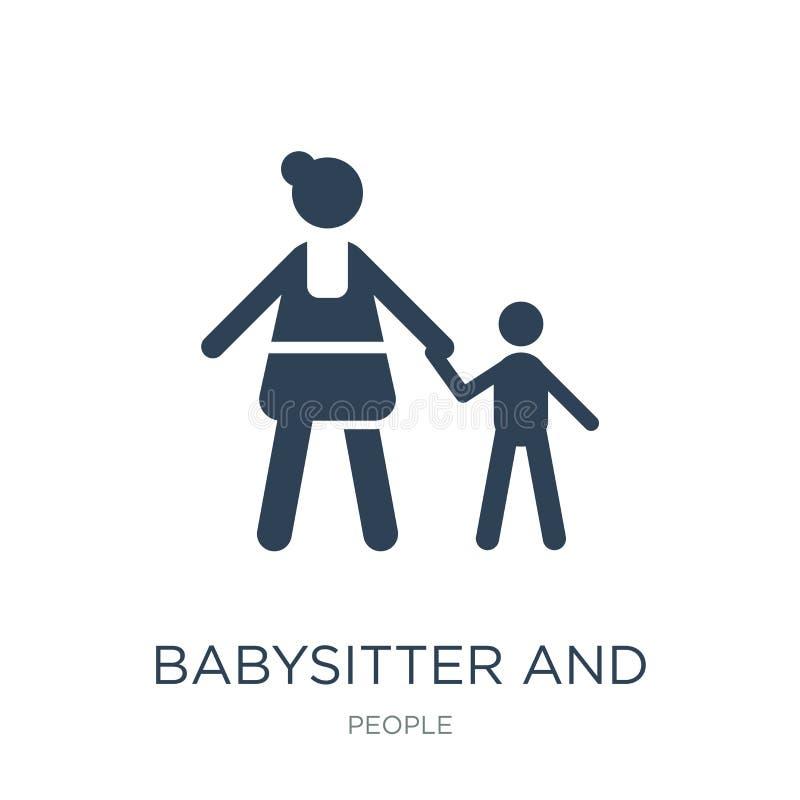 icône de babysitter et d'enfant dans le style à la mode de conception icône de babysitter et d'enfant d'isolement sur le fond bla illustration de vecteur