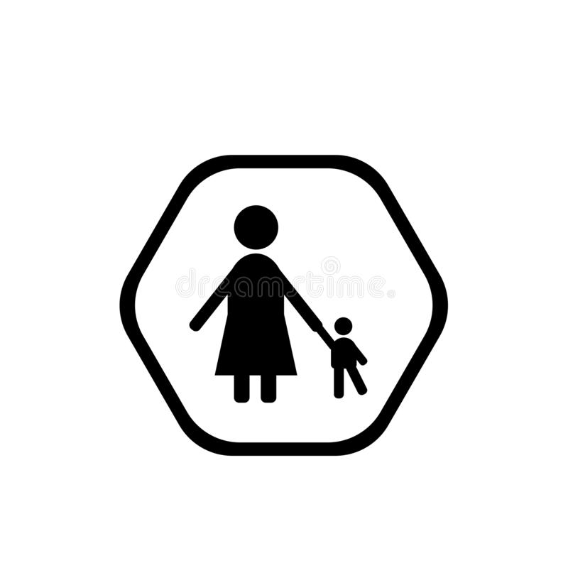 Icône de babysitter et d'enfant d'isolement sur le fond blanc, B illustration stock