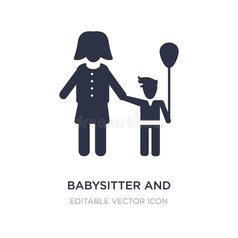 icône de babysitter et d'enfant sur le fond blanc Illustration simple d'élément de concept de personnes illustration libre de droits