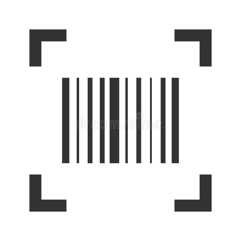 Icône de balayage de code barres, autocollant de lecteur des prix de produit illustration stock