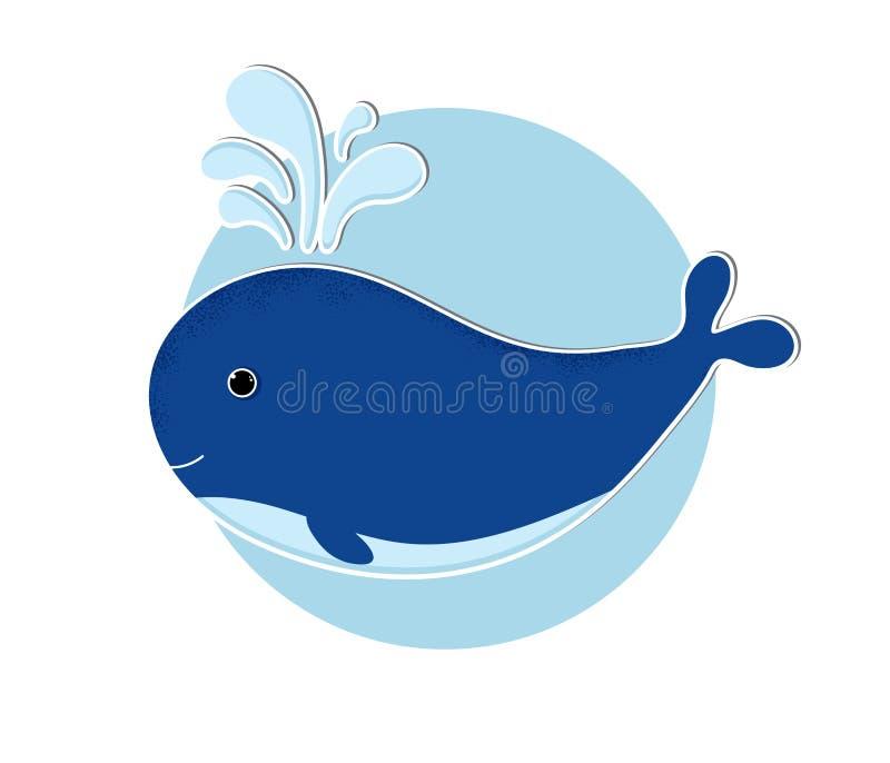 Icône de baleine de bande dessinée dans le style plat moderne illustration de vecteur