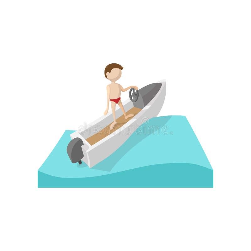 Icône de bande dessinée de bateau d'emballage illustration de vecteur