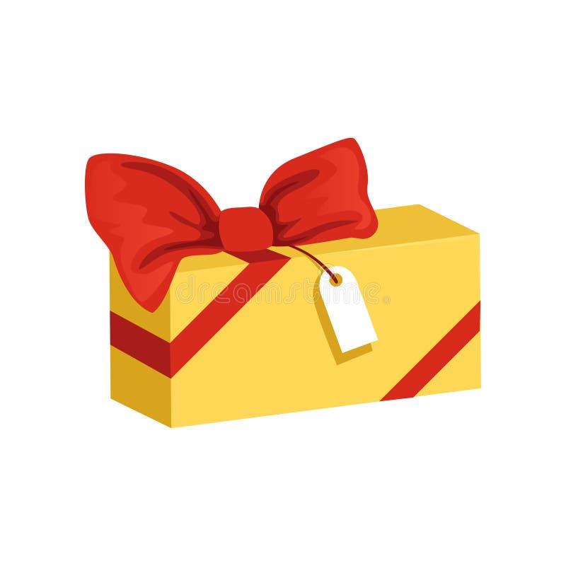 Icône de bande dessinée de boîte-cadeau rectangulaire jaune avec le grands arc et étiquette rouges Présent pour des vacances thèm illustration de vecteur