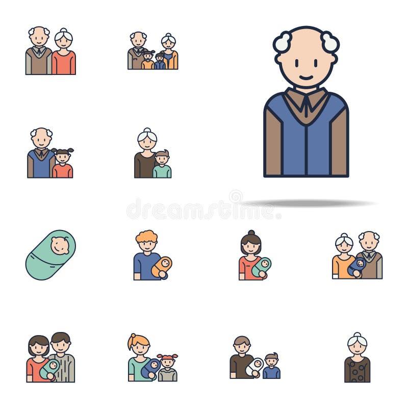icône de bande dessinée de grand-papa Ensemble universel d'icônes de famille pour le Web et le mobile illustration de vecteur