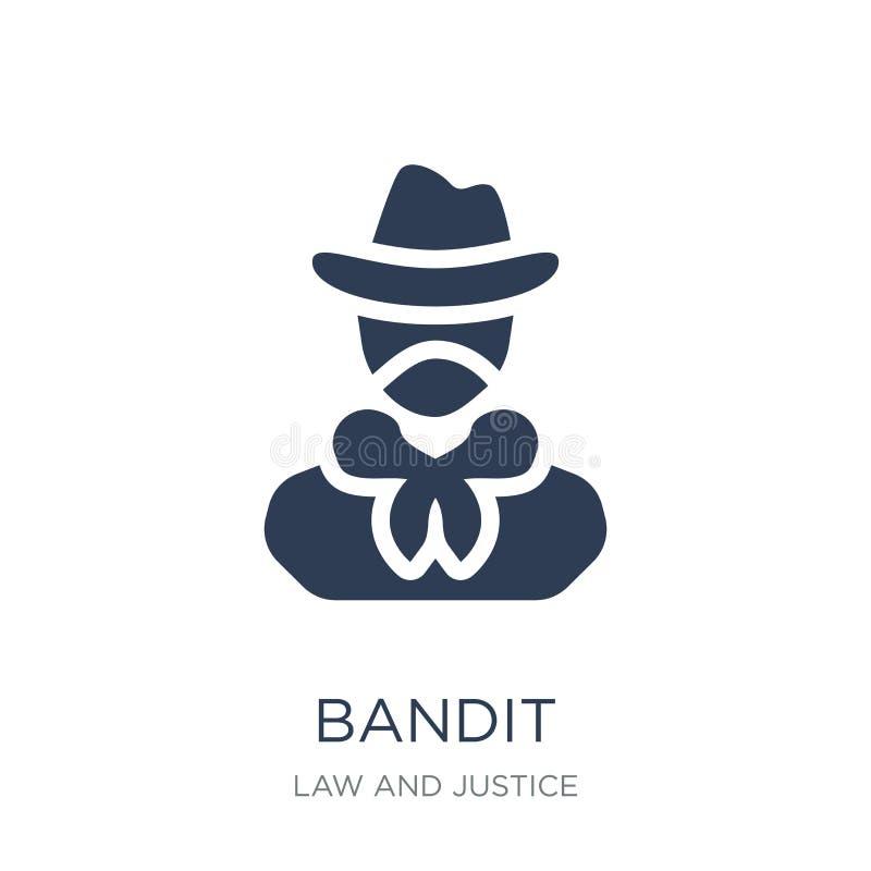 Icône de bandit Icône plate à la mode de bandit de vecteur sur le fond blanc illustration stock