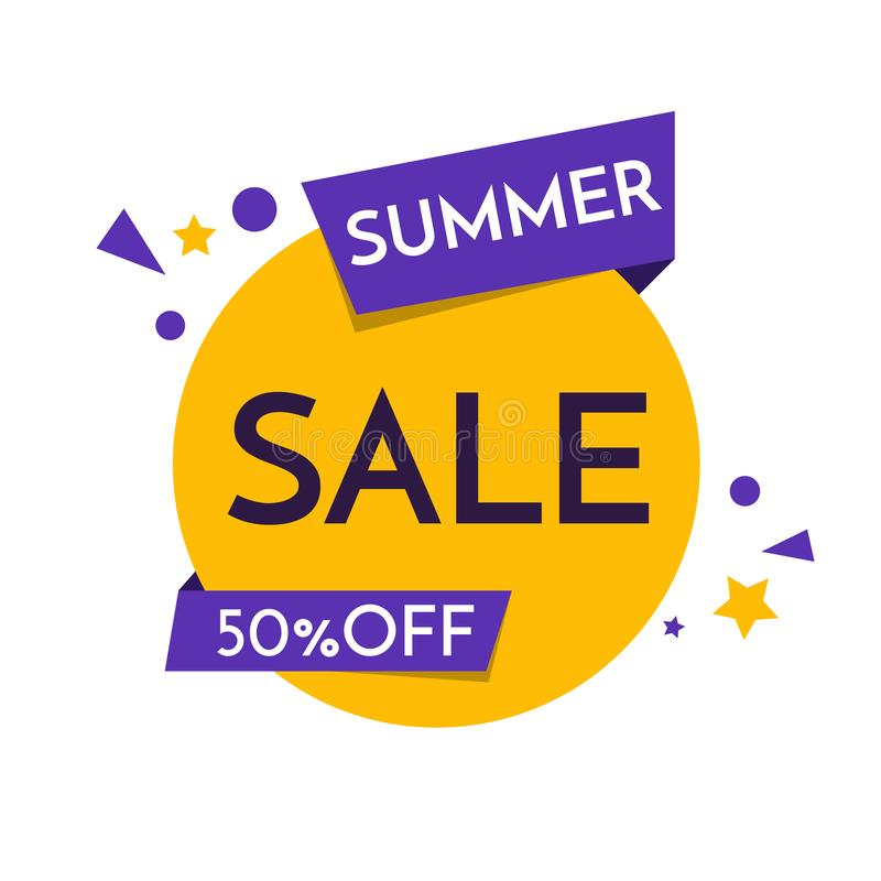 Icône de bannière de vente d'été, affiche, insecte, 50, fond Vente superbe, offre spéciale sur le chaque marques Vecteur illustration libre de droits