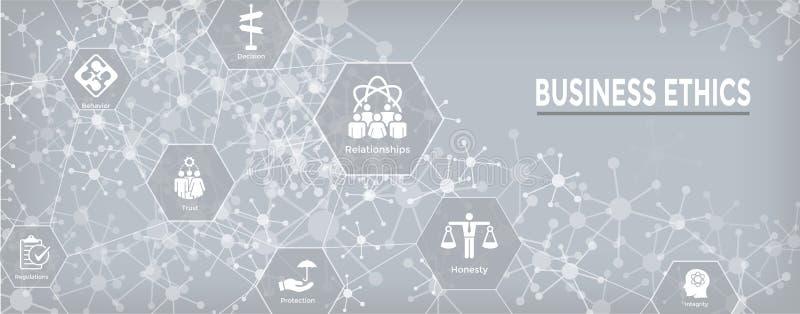 Icône de bannière de Web d'éthique d'affaires réglée avec l'honnêteté, intégrité, COM illustration stock