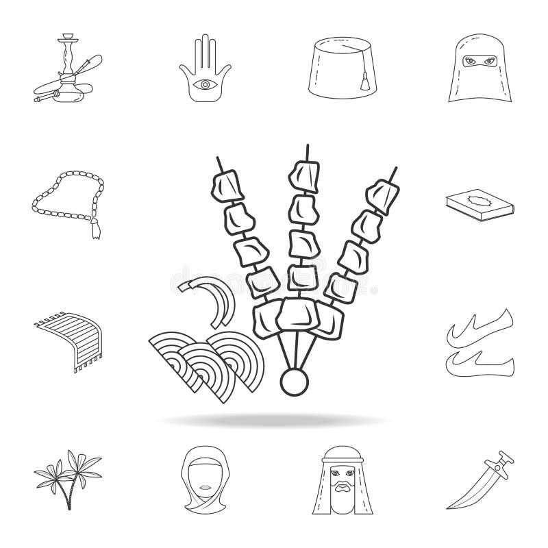 Icône de barbecue Ensemble détaillé d'icônes arabes de culture Conception graphique de la meilleure qualité Une des icônes de col illustration stock