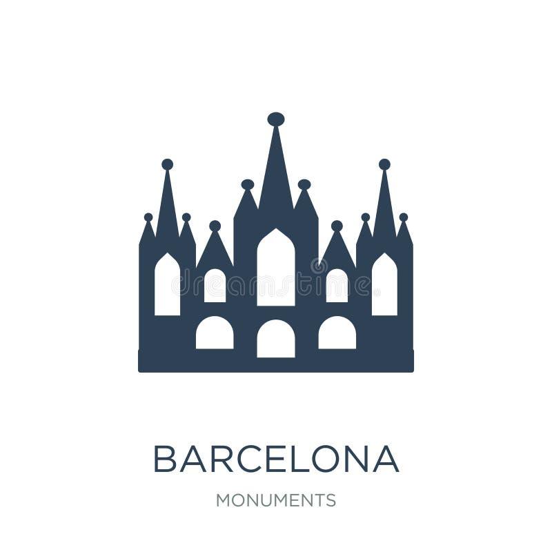 icône de Barcelone dans le style à la mode de conception icône de Barcelone d'isolement sur le fond blanc appartement simple et m illustration libre de droits
